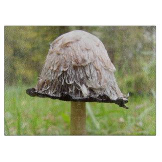 Shaggy Ink Cap Mushroom Glass Chopping Board