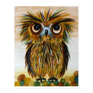 Shaggy owl big eyed wildlife postcard