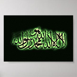 Shahada Islamic confession faith Arabic writing Poster