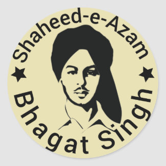 shaheed -e-azam Bhagat Singh Classic Round Sticker