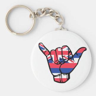 Shaka Hawaii Flag Basic Round Button Keychain