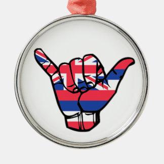 Shaka Hawaii Flag Metal Ornament