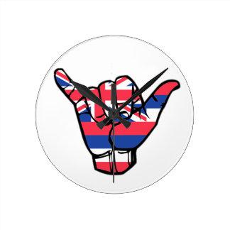 Shaka Hawaii Flag Round Clock