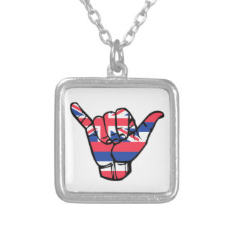 Shaka Hawaii Flag Silver Plated Necklace