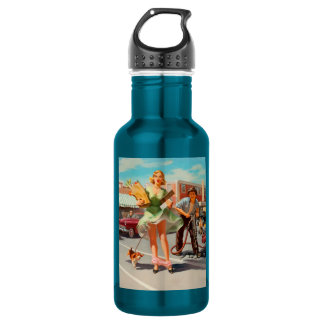 Shake down funny retro pinup girl 532 ml water bottle