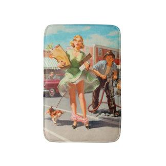Shake down funny retro pinup girl bathroom mat