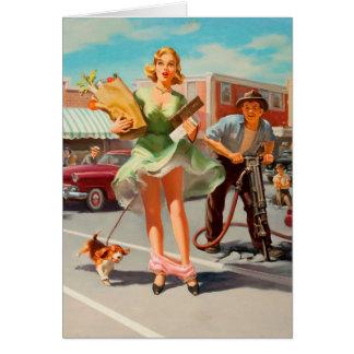 Shake down funny retro pinup girl card