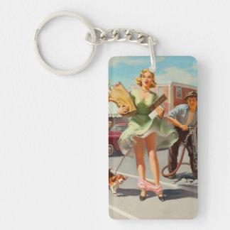 Shake down funny retro pinup girl keychain