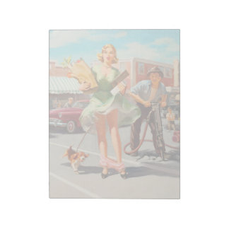 Shake down funny retro pinup girl notepad
