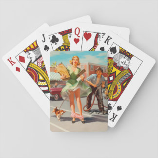 Shake down funny retro pinup girl playing cards