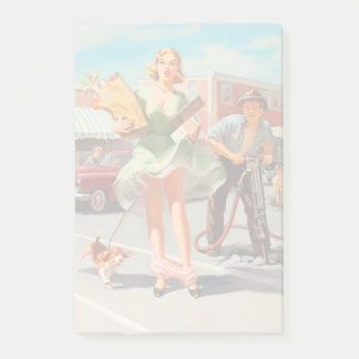 Shake down funny retro pinup girl post-it notes