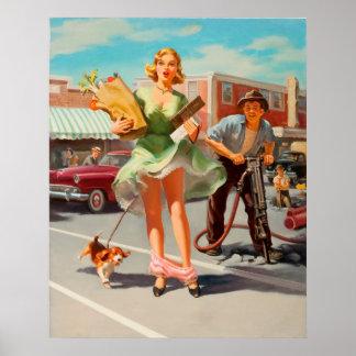 Shake down funny retro pinup girl poster