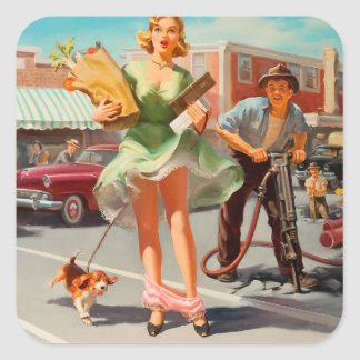 Shake down funny retro pinup girl square sticker
