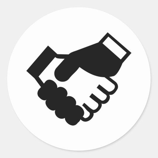 Shake hands classic round sticker
