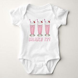 Shake It! Pink Strawberry Ice Cream Shop Milkshake Baby Bodysuit