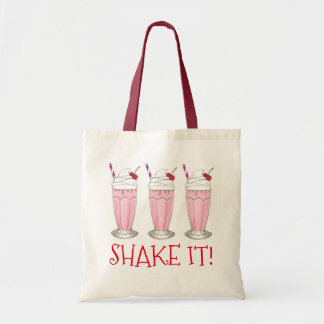 Shake It! Pink Strawberry Ice Cream Shop Milkshake Tote Bag