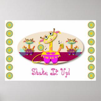 Shake It Up Cartoon Bellydancing Giraffe Poster