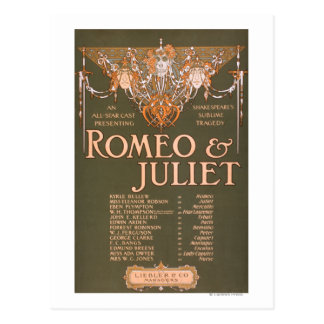 """Shakepeare's Sublime Tragedy """"Romeo & Juliet"""" Postcard"""