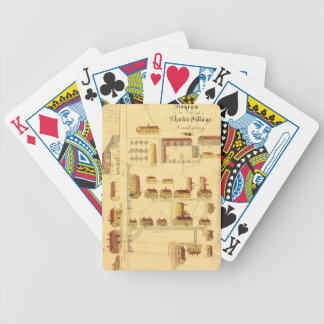 SHAKER VILLAGE MAP, 1849 BICYCLE PLAYING CARDS