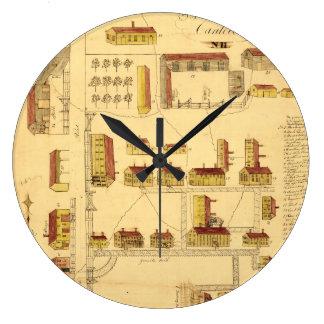 SHAKER VILLAGE MAP, 1849 WALL CLOCK