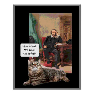 Shakespeare and his kitty poster