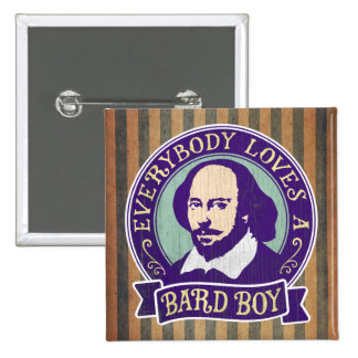 Shakespeare Everybody Loves a Bard Boy 2 Inch Square Button