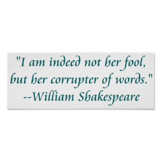 Shakespeare fool words poster