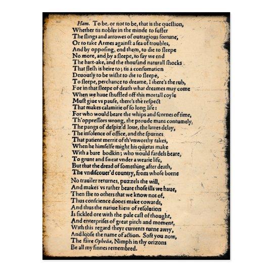 Shakespeare Hamlet Soliloquy Postcard