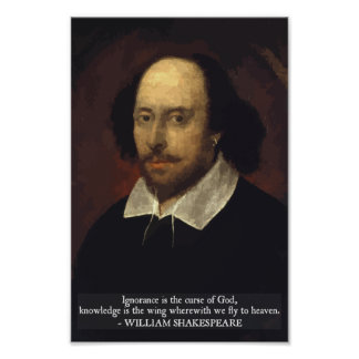 Shakespeare - Ignorance and Knowledge quote poster