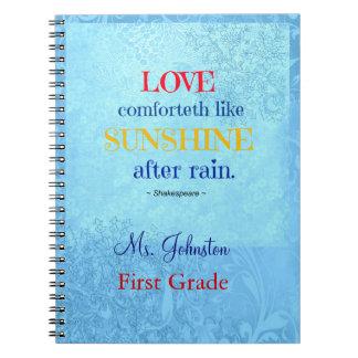 Shakespeare Love Comforteth like Sunshine Teacher Note Books
