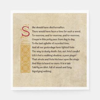 Shakespeare Macbeth Act V Scene V - Sound and Fury Napkin