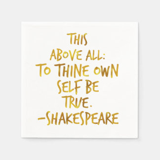 Shakespeare Motivational Quote Gold Faux Foil Napkin