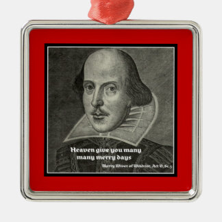 SHAKESPEARE PORTRAIT WITH QUOTE METAL ORNAMENT