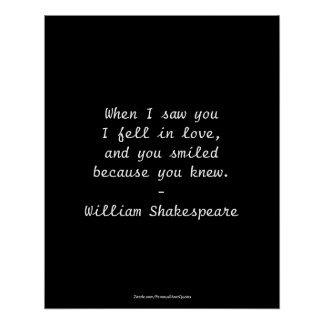 Shakespeare Quote - I Fell In Love Poster