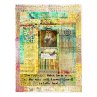 Shakespeare  QUOTE The fool doth think he is wise Postcard