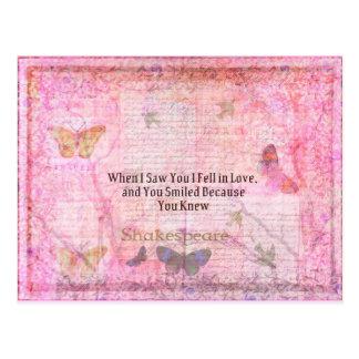 Shakespeare Romantic Love quote art typography Postcard