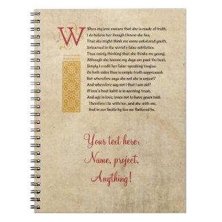 Shakespeare Sonnet 138 (CXXXVIII) on Parchment Spiral Note Books