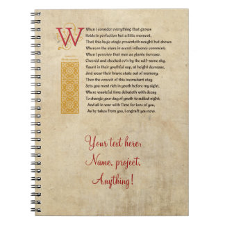 Shakespeare Sonnet 15 (XV) on Parchment Notebooks