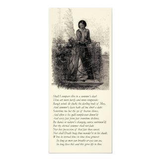 "Shakespeare Sonnet # 18 4"" X 9.25"" Invitation Card"