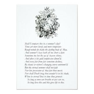 "Shakespeare Sonnet # 18 5"" X 7"" Invitation Card"