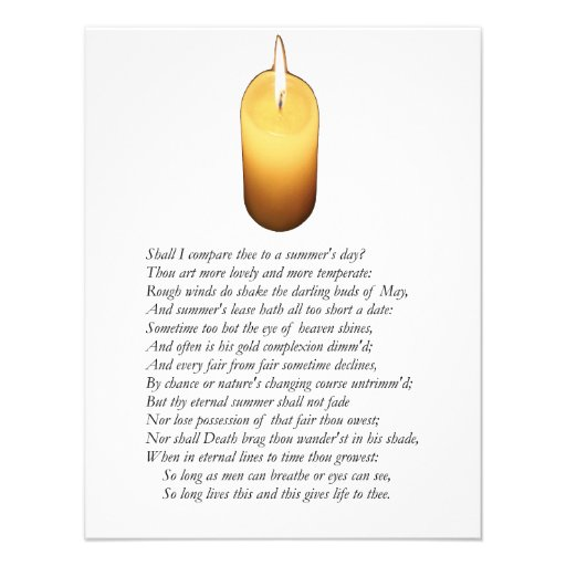 Shakespeare Sonnet # 18 Custom Announcements