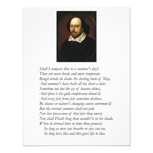 Shakespeare Sonnet # 18 Personalized Invite