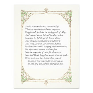 Shakespeare Sonnet 18 Personalized Invitations