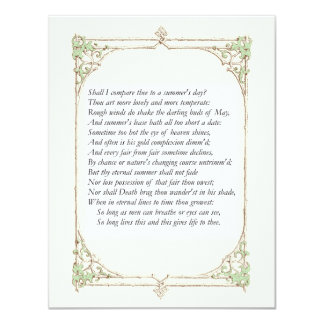 Shakespeare Sonnet # 18 Personalized Invitations