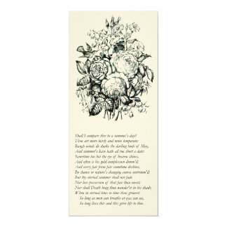 Shakespeare Sonnet # 18 4x9.25 Paper Invitation Card
