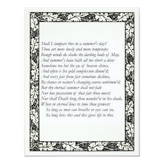 Shakespeare Sonnet # 18 Custom Invite