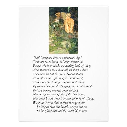 Shakespeare Sonnet # 18 Personalized Invites