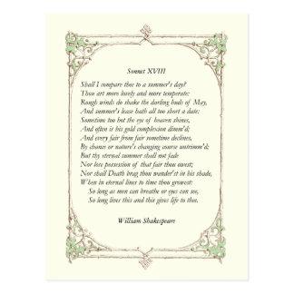 Shakespeare Sonnet # 18 Postcard