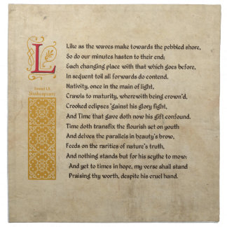 Shakespeare Sonnet 60 (LX) on Parchment Napkin