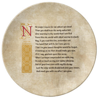 Shakespeare Sonnet 71 (LXXI) on Parchment Plate